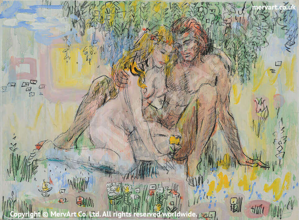 Adam & Eve - In the Garden of Eden surrounded by flowers Main Image