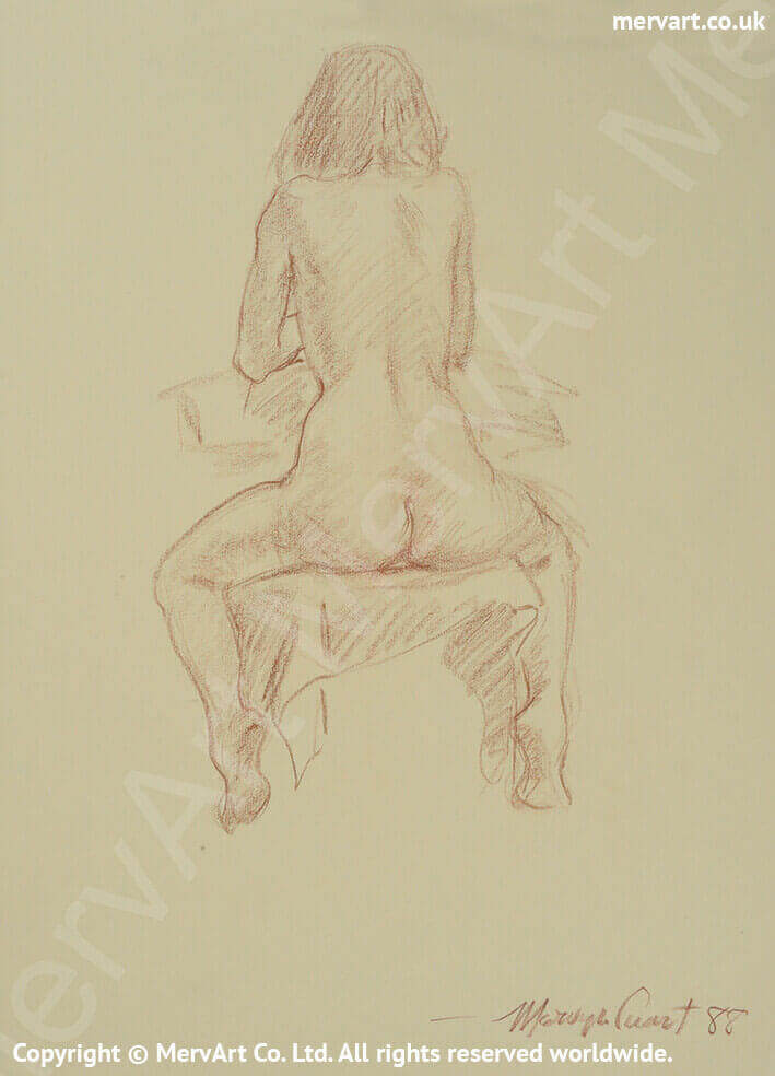 Cynthia - Nude sitting astride a chair with her back to us Main Image