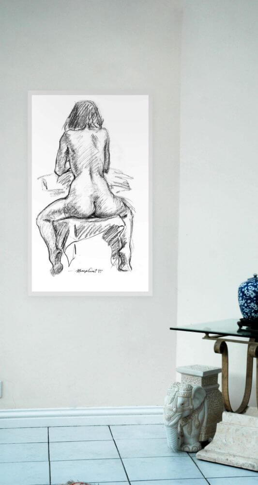 Cynthia - Nude sitting astride a chair with her back to us Side Image