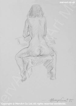 Cynthia - Nude sitting astride a chair with her back to us