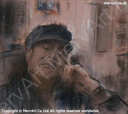 Mervyn sitting - Self portrait 1972